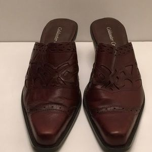 Coldwater Creek CognacLeather Western Styled Mules